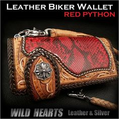 Biker wallet Red Python Genuine Cowhide Leather Handcrafted Carved LeatherCustom Handmade WILD HEARTS Leather&Silver http://item.rakuten.co.jp/auc-wildhearts/lw1144/