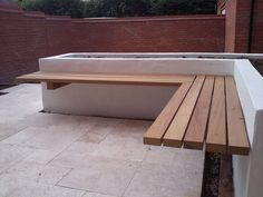 interior: Terrific Outdoor Bench Idea With Marvelous Wooden Seating Bench Design Hanged At Stunning White Wall Idea - Modern Wood Bench Design and Ideas, Luxury Busla: Home Decorating Ideas and Interior Design Diy Bench Seat, Wall Bench, Patio Bench, Backyard Seating, Outdoor Seating, Deck Benches, Garden Bench Seat, Corner Garden Seating, Built In Garden Seating