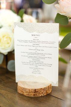 Rustic wedding menu: Photography: Mike Larson - http://www.mikelarson.com/