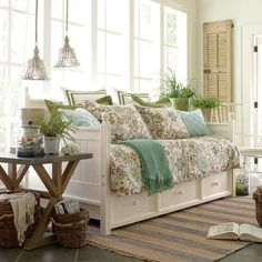 Birch Lane Hampton Daybed. I would absolutely love this in my studio/office. A great place for extra overnight guests or for when the inspirational juices need a bit of revving up. Wonder if the Ana-White trundle bed plan could be modified to look like this. Don't see why not.