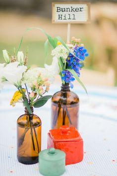 vintage colorful vase wedding centerpiece