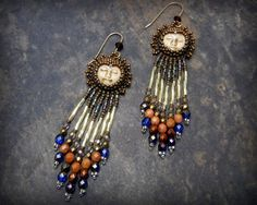 Bead Embroidered Face Earrings with Fringe by BeadedTreasuresbyJCo, $35.00