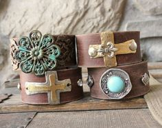 Bohemian Leather Cuffs. Made from recycled vintage belts. #boho #jewelry