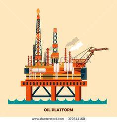 Offshore oil platform design concept set with petroleum. Helipad, cranes, derrick, hull column, lifeboat, workshop, manifold, gas lift module. Vector illustration