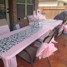 Spa Tatum Table And Chairs. Chair Cover Bows Made From Pink Plastic  Tablecloths.