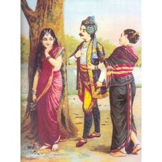 Madalasa and Rutudwaj (Ravi Varma Print)