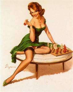 #elvgren #vintage #pinup Gil Elvgren - Your Move, 1964