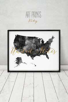 USA map watercolor print black & white with faux by ArtPrintsVicky