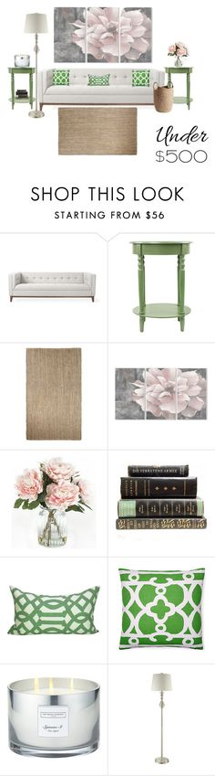 """""""Under $500 Living Room"""" by marielle80 ❤ liked on Polyvore featuring interior, interiors, interior design, home, home decor, interior decorating, Gus* Modern, Jaipur, Stupell and Home Decorators Collection"""