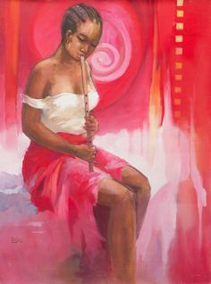 Intent on her music, a girl coaxes sweet notes from a flute. Mark Buku captures her youthful beauty, neatly braided hair and casual dress. But it is her rapt concentration that mesmerizes the viewer. Her red skirt blends with the ardent air that surrounds her. Flutist II (2008) Wall Art By: Mark Buku from Great Big Canvas Big Canvas, Canvas Frame, Framed Prints, Canvas Prints, Art Prints, African American Culture, Sweet Notes, Pink Art, Braided Hair