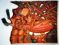 """""""Reason for the mutual silence"""" wooden relief 120cm x 100cm"""
