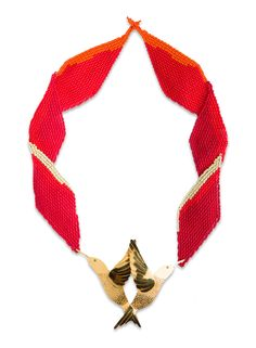 Necklace made with crystal beads (by Embera Chami indigenous community women) and handmade metal piece in gold plated brass 24 Karats. Crystal Beads, Crochet Necklace, Pendant, My Style, Metal, Handmade, Jewelry, Turbans, Beadwork