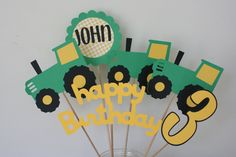 6 Piece Green and Yellow Tractor Centerpiece, John Deere inspired birthday, Tractor Birthday Party Table Decorations,  tractor birthday