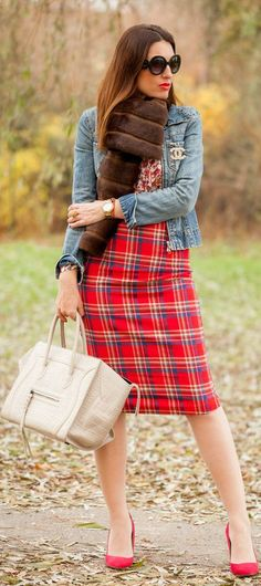 #Plaid #Skirt & Happy New Year brown fur / red plaid skirt / denim jacket / pumps / tote /