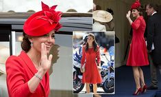 Kate, 34, joined Prince William and the royals for the annual service at Windsor Castle today. She defied the rain in a vibrant red Catherine Walker coat which she wore during a trip to Canada in 2011.