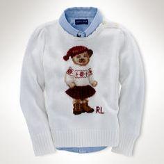 Intarsia Bear Cotton Sweater - Girls 2-6X Sweaters - RalphLauren.com