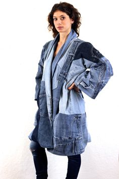 SilkDenim oh yoko coat recycled restitched denim