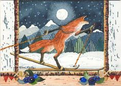 Fox Striding - watercolor by Toni Lieppert Polfus