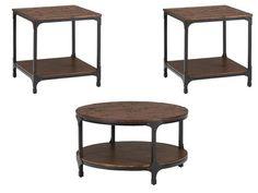 Urban Nature Transitional Metal Wood Coffee Table Set