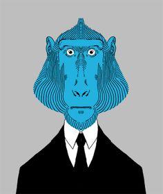 Monki Series - Blue Baboon by Mr Glups, via Behance