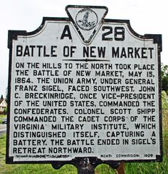 "Just watched an excellent movie about this battle called ""The Field of Lost Shoes"" about sending the VMI cadets into battle and distinguishing themselves. Came out in If you like Civil War history it's a must. Confederate States Of America, America Civil War, Battle Of New Market, Virginia History, Union Army, Virginia Is For Lovers, Historical Fun, Historical Landmarks, Civilization"