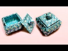 how to make a square basket wrap supplement tutorial part 1 Candy Wrapper Purse, Candy Wrappers, Candy Bags, Ribbon Crafts, Paper Crafts, Milk Carton Crafts, Recycled Plastic Bags, Origami And Quilling, Square Baskets