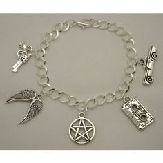 SALE! Supernatural Sam and Dean Winchester Castiel On the Road Antique... (115 NOK) ❤ liked on Polyvore featuring jewelry, bracelets, antique silver jewellery, charm bracelet bangle, antique silver charms, antique silver jewelry and charm bracelet
