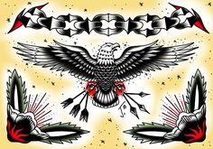 Eagle & chain flash sheet #eagle #tattoo #eagletattoo #chaintattoo #flowertattoo #traditional #tattoo #tradtattoo #traditionaltattoo #oldschooltattoo #colortattoo #olomouctattoo #lovetat #lovetattoo #traditional_tattoo #sketchbookpro #wacomtattoo #digitalpainting #olomouctattoo