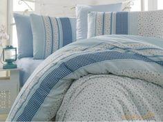Полуторный комплект постельного белья Arya Defne голубой 160х220 изготовлен из ткани - ранфорс. Доставка во все регионы.