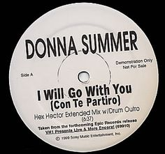 """Donna Summer, I Will Go With You - Hex Hector/Richie Santana, US, Promo, Deleted, 12"""" vinyl single (12 inch record / Maxi-single), Sony, DONNA SUMMER, 145822"""