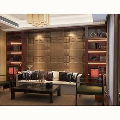 Hand-carved leather wall panel decorative sofa background bedroom dining room