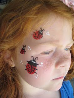 DIY Lady Bug Face Paint #DIY #FacePainting #CheekArt #LadyBugs #Birthdays #Birthday #Party #Parties