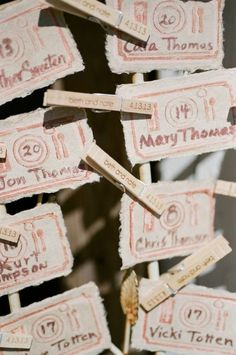 cute seating cards with a table setting drawings    Photography by austinwarnock.com