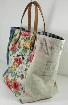 Upcycle fabric and belt into tote bag