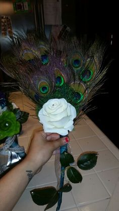 Peacock bridesmaid bouquet