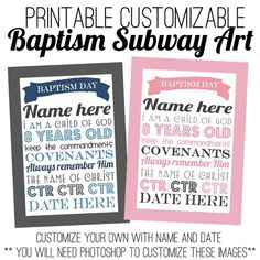 Printable Baptism Subway Art great idea!