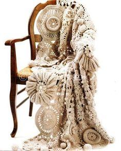 crochet afghan blanket - Medallion Medley in the Crochet on the Edge Book! Crochet Home, Love Crochet, Irish Crochet, Crochet Crafts, Yarn Crafts, Crochet Projects, Knit Crochet, Afghan Crochet, Beautiful Crochet