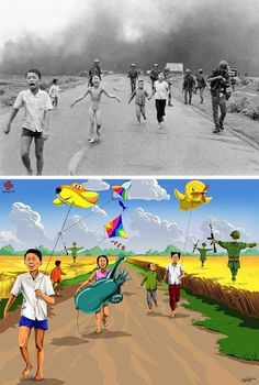 """The controversial artist Gunduz Aghayev returns with a series dedicated to these children visible on large historical photographs, offering them an idealized end, far from bombs, famines and violence – Photo: Vietnam War: """"Napalm Girl"""" - Napalm Girl, Satirical Illustrations, Innocent Child, Deep Art, Reality Of Life, Social Art, Political Art, Vietnam War, Some Pictures"""