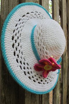 CROCHET PATTERN - Aloha - a wide brimmed sun hat with flower in 4 sizes (Child - Adult L) - Instant PDF Download