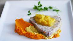 Grilled tuna with mango and pineapple salsa! Grilled Tuna, Pineapple Salsa, Mashed Potatoes, Grilling, Mango, Ethnic Recipes, Food, Pineapple, Seared Tuna