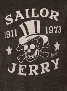 skull+with+sailor+hat | Sailor Jerry Top Hat Skull Tattoo Design T Shirt In Onyx Color. Tri ...