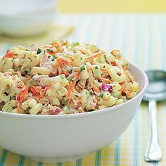 Picnic-Perfect Tuna-and-Macaroni Salad by All You. This colorful macaroni salad with tuna features grated carrot, chopped celery and red onion, all tossed in a creamy mayonnaise-yogurt dressing. Serve it chilled as a side salad or a main dish. Summer Pasta Salad, Easy Pasta Salad, Pasta Salad Recipes, Summer Salads, Easy Potluck Recipes, Summer Recipes, Picnic Recipes, Top Recipes, Risotto