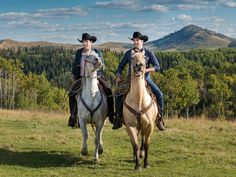 Hosts Johnathan and Drew Scott enjoy one of their favorite pastimes,horseback riding, at the Bew's residence in Longview, Alberta.
