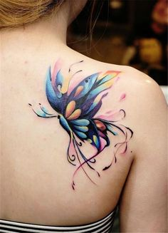 Watercolor Tattoos Turn Your Body into a Living Canvas, watercolor Schmetterl. - Watercolor Tattoos Turn Your Body into a Living Canvas watercolor butterfly Tattoo © tattoo artist - Butterfly Tattoos Images, Butterfly Tattoo Designs, Tattoo Images, Colorful Butterfly Tattoo, Butterfly Design, Butterfly Colors, Trendy Tattoos, Small Tattoos, Tattoos For Guys