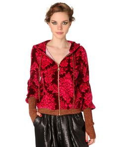 sweat à capuche velours Jacquard Rose de Manoush #Bazarchic