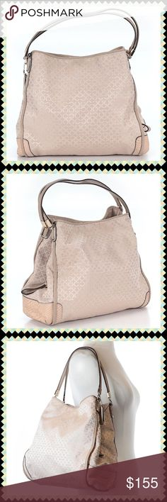 """LIKE NEW🍂Large 3 Compartment Coach Bag🍂 Exceptional Light Tan Bag with Exotic Leather Trim and Gold Hardware. 1 Gold Horse & Carriage & 1 Coach Leather Hang Tags Included. 3 compartments with middle compartment being a full zip closure. Light Tan interior satin fabric. 1 interior zip pocket and 2 interior slip pockets. Approximate Measurements: 13"""" Height-12"""" Depth-6"""" Strap Drop-8"""" Coach Bags"""