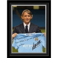 Roberto Mancini Signed PhotoThis is a fantastic present for any Manchester City fan and is approved and fully licensed by Man City.    This is a unique gift displaying the player's photo and a personalised message alongside his replica printed autograph.     Choose from Adam Johnson, Kolorov,  Pantilimon,Tevez, Silva, Dzeko, Clichy, Barry, Hart, Milner, Kolo Toure, Ballotelli, De Jong, Zabaleta, Mancini, Kompany, Yaya Toure, Nasri, Aguero & Savic. Kolo Toure, Adam Johnson, Soccer Gifts, Soccer Fans, Manchester City, Gifts For Boys, Unique Gifts, Messages, Kids