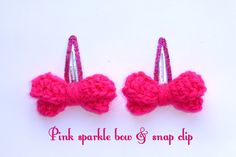 Sparkle bow with Snap clip. Hand made Crochet. on Etsy, £2.50