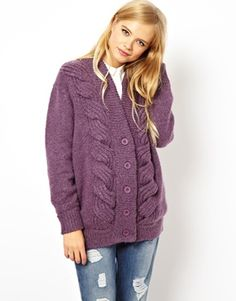 ASOS Cable Cardigan in Mohair
