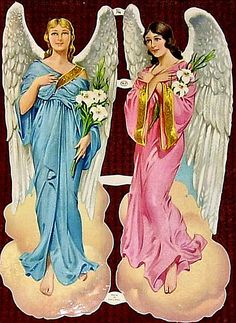Scraps MLP 796 Angels Large Vintage Sheet Glanzbilder Die-cuts Oblaten Decoupis